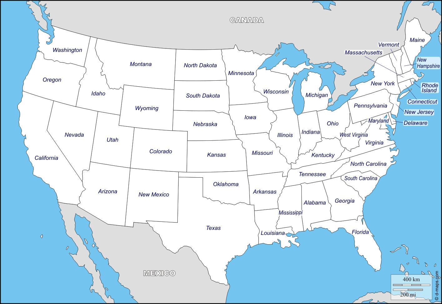 Puzzle Puzzle Maxi Mapa Usa Jednotlive Staty Hlavni Mesta 48