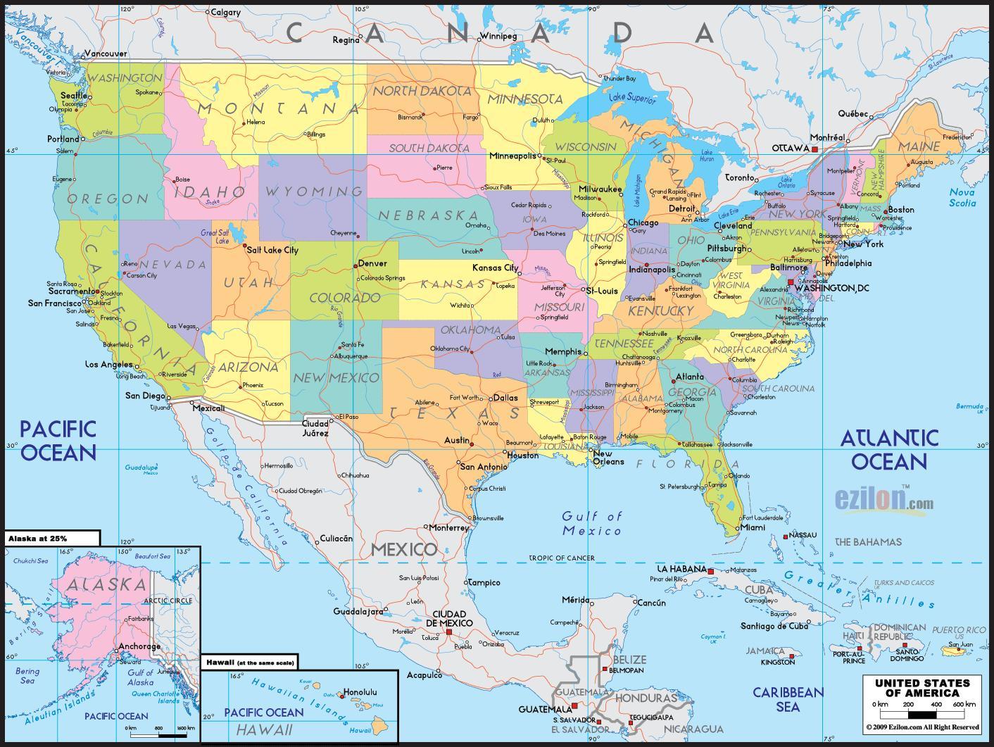 Mapa Ameriky Mapa Amerike Severnej Amerike Severnej A Juznej