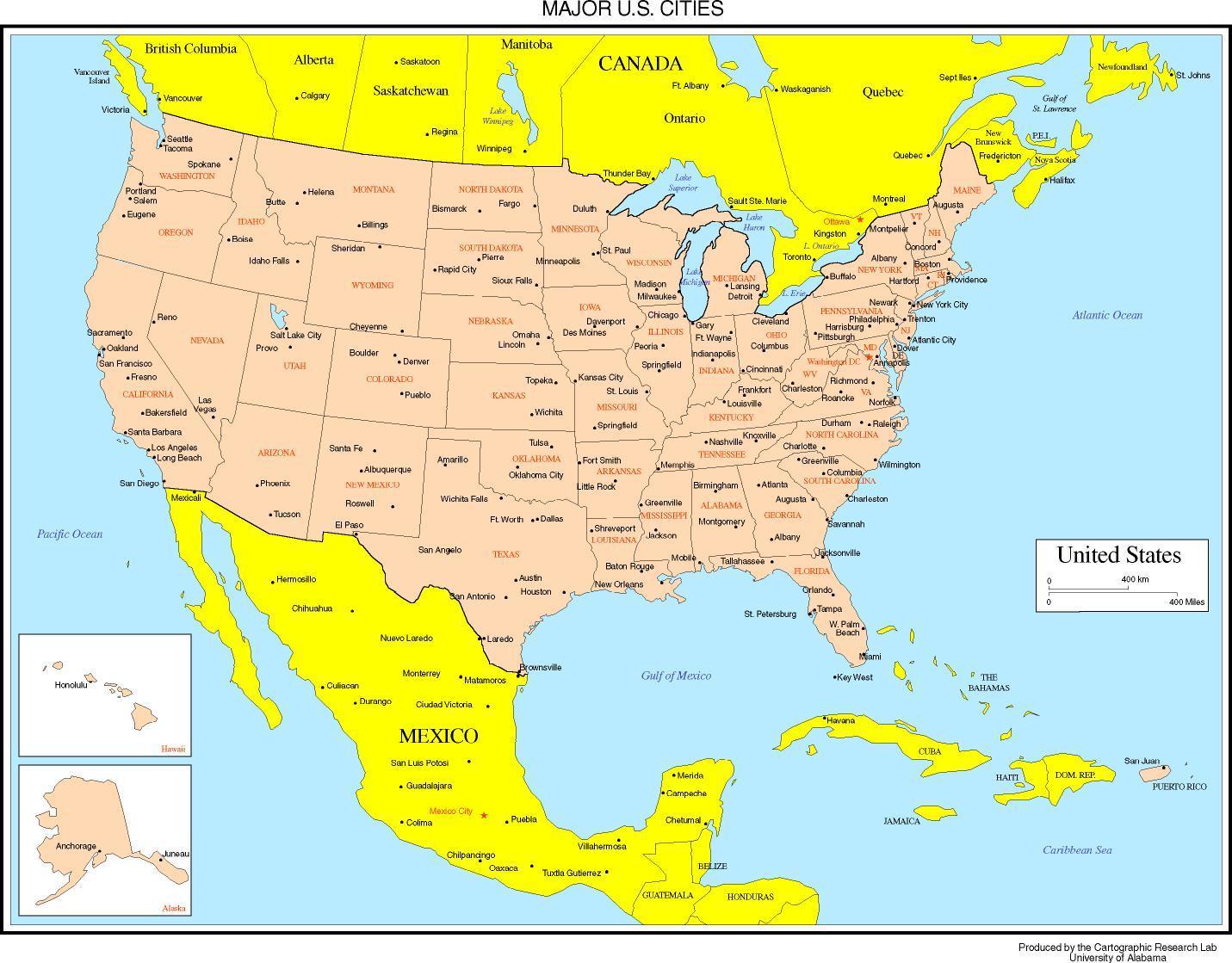Usa Mapu S Mestami Mapa Usa V Mestach Na Severnej Amerike